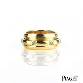 Piaget 18k Yellow Gold Diamond Set Possession Ring Size 52